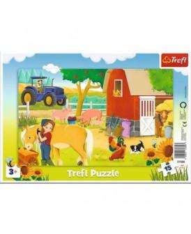TREFL PUZZLE 15 EL. RAMKOWE ZWIERZĘTA NA FARMIE