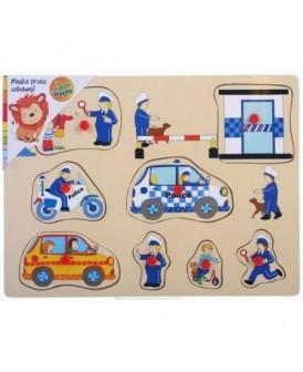 PLAYME PUZZLE DREWNIANE POLICJA 9 EL. Z UCHWYTAMI