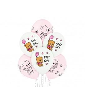 BALONY PREMIUM SHOWER BABY GIRL MISIE 30 CM 6 SZT