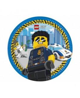 TALERZYKI PAPIEROWE LEGO CITY 23 CM 8 SZT