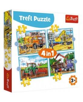 TREFL PUZZLE 4W1 20, 24, 15,12EL MASZYNY BUDOWLANE